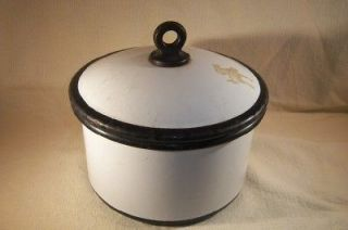 Vintage Enamelware Baby Bottle Sterilizer 1950s White & Black
