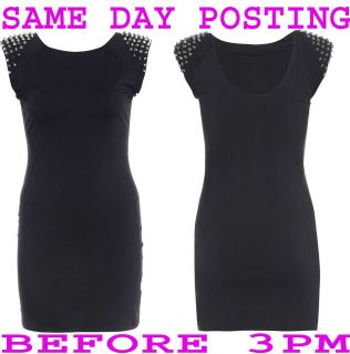 PLUS SIZE SILVER STUDDED BLACK GOING OUT EVENING PARTY DRESS 16 26
