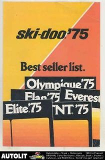 1975 Ski Doo Olympique Elan Everest Elite TNT Snowmobile Brochure