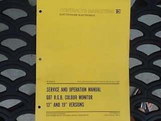 Electrohome Service Operation Manual for G07 R.G.B. Colour Monitor 13
