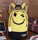 Girls Smiley face shoulder bag Canvas backpack school bag Satchel 2