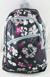 NWT Womens Girls Lady Black Backpack School Bookbag With Flowers