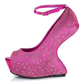 Faye Fuchsia Metallic Lady Gaga Platform Wedge High Heel Metal Stud