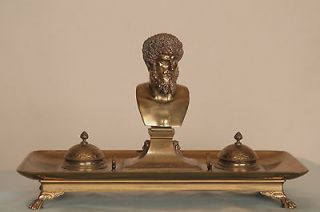 Fine French Ferdinand Barbedienne Brass Bronze Figural Inkwell, Paris