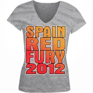 Red Fury 2012 Junior Girls V neck T shirt Xavi Football World Cup FIFA