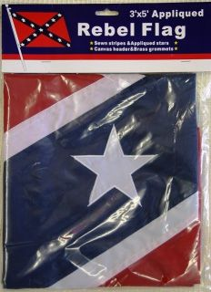 NEW 3x5 Confederate Sewn on Stars Rebel Flag dixie pride