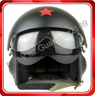 New Chinese Matt Black Military Jet Flight Pilot Helmet All Sizes