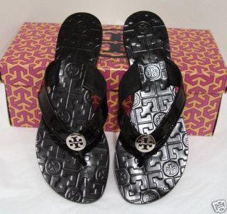 Tory Burch Thora Black Patent Sandals Flip Flop 5 to 10