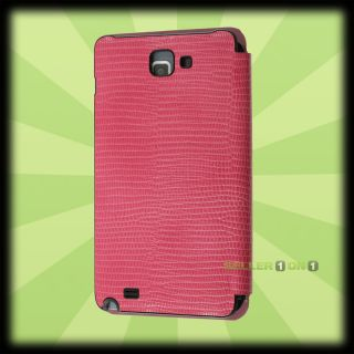 OEM Anymode Samsung Galaxy Note Leather Flip Case Pink SGH i717