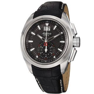 Alpina Nightlife Club Chrono Mens Black Leather Strap Watch AL