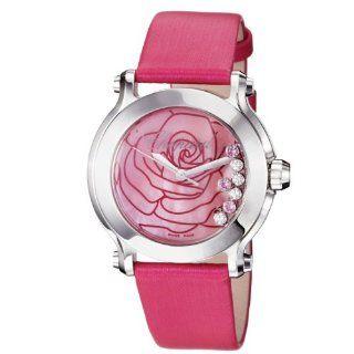 Chopard Womens 278475 3029 Happy Sport Round Pink Satin Strap Watch