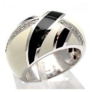 Roberto Coin Black & White Enameled Diamond Dome Cocktail Ring Solid