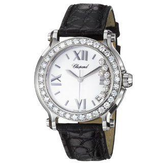 Chopard Happy Sport Round Ladies Black Leather Strap Diamond Watch