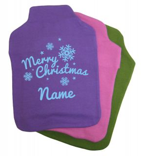 Personalised Hot Water Bottle Cover Xmas Gift Present Mum Grandma Dad