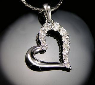 Gold gp Brilliant Lab Diamond Large Open Heart Love Pendant Necklace
