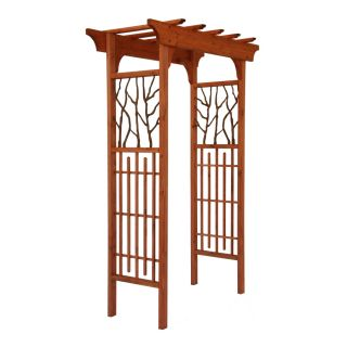 Shop Matthews Four Seasons Hickory Wood/Metal Arbor Heartwood Arbor at