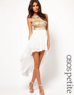 Petite   PETITE Exclusive Dress With Sequin Top And Dipped