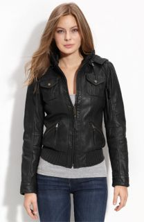 MICHAEL Michael Kors Hooded Leather Bomber Jacket
