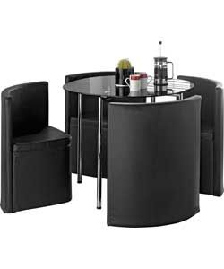 Buy Hygena Round Space Saver Black Dining Table and Chair Set at Argos