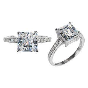 Emitations Tristas Princess Cut Cubic Zirconia Promise Ring   Clear