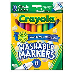 Crayola® Washable Markers, Conical Tip, Assorted Classic Colors, Box