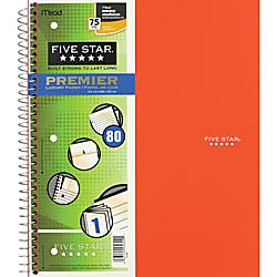 Five Star Quadrille Notebook 8 12 x 11 100 Sheets Assorted Colors No
