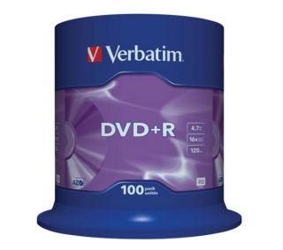 Buy VERBATIM 16x Speed DVD+R Blank DVDs   Pack of 100  Free Delivery