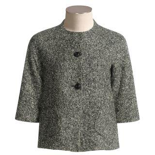 Louben Tweed Blazer   3/4 Sleeve (For Women) in Ink/Snow