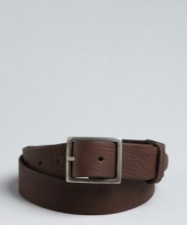 John Varvatos brown leather Pieced and Riveted belt