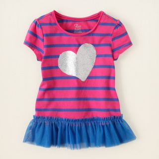 baby girl   short sleeve tops   striped active tunic  Childrens