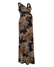 Brown Pattern (Brown) Maternity Black Leopard Print Baroque Maxi Dress