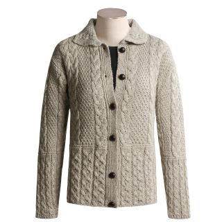 Peregrine by J.G. Glover Aran Cable Knit Cardigan Sweater   Peruvian