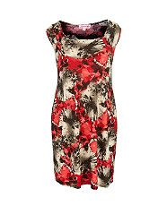 null (Multi Col) Lipstick Curvy Red Flower Print Tulip Dress