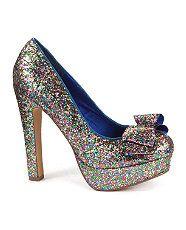 null (Multi Col) Blink Black Glitter Bow Platform Court Shoes