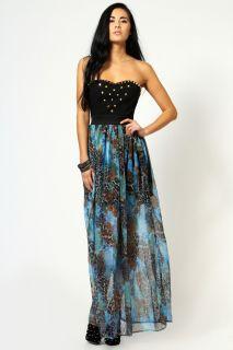Clothing  Maxi Dresses  Hallie Animal Print Studded