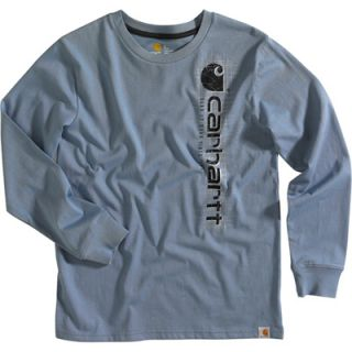 Carhartt Boys Logo Long Sleeve T Shirt   Infantry Blue