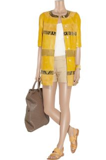 Giambattista Valli Paneled leather, suede and python coat   70% Off