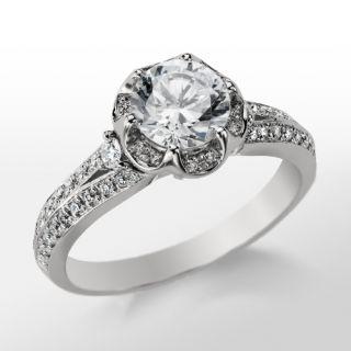 Monique Lhuillier Flower Engagement Ring in Platinum  Blue Nile