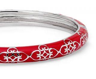 Narrow Red Enamel Bangle Bracelet in Sterling Silver  Blue Nile