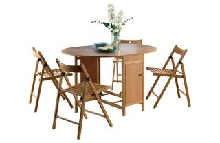 Butterfly Set Oval Dining Table and 4 Chairs   Oak. from Homebase.co