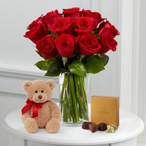 Dozen Long Stem Red Roses with Bear & Godiva®   VASE INCLUDED