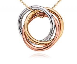 Infinity Rings Pendant in 14k Tri Color Gold  Blue Nile