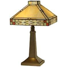 Multi Color, Brass   Antique Brass, Art Glass Table Lamps By