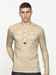 Star RAW Mens Long Sleeve Grandad T shirt  Littlewoods