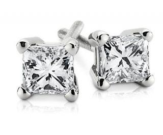 18k White Gold Princess Cut Diamond Stud Earrings (1/3 ct. tw.)  Blue
