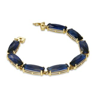 Cushion Cut Lab Created Blue Sapphire Line Bracelet in 10K Gold