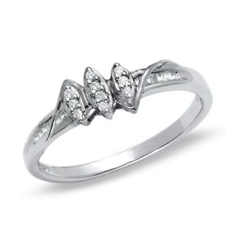 10 CT. T.W. Diamond Marquise Cluster Promise Ring in 10K White Gold