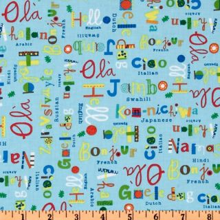 What A World Words Blue   Discount Designer Fabric   Fabric