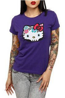 Hello Kitty Purple Dia De Los Muertos Girls T Shirt Plus Size 3XL