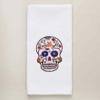 Dia De Los Muertos Embroidered Skull Kitchen Towel  World Market